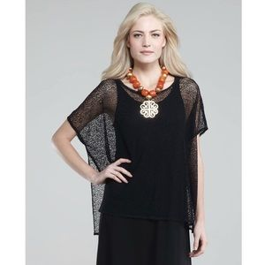 EILEEN FISHER   NWOT Black Stretch Lace Mesh Tunic